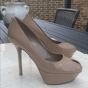 Sergio Rossi 6.5 Nude Patent Leather High Heels
